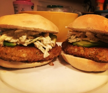 The vegan take on Filet o' Fish topped with tartar sauce and slaw.